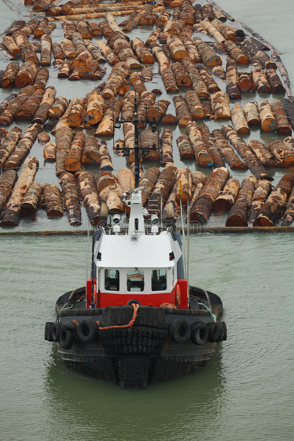 Tugboat and Log Boom. A tugboat tows a log boom on the Fraser River. British Columbia, Canada stock photos