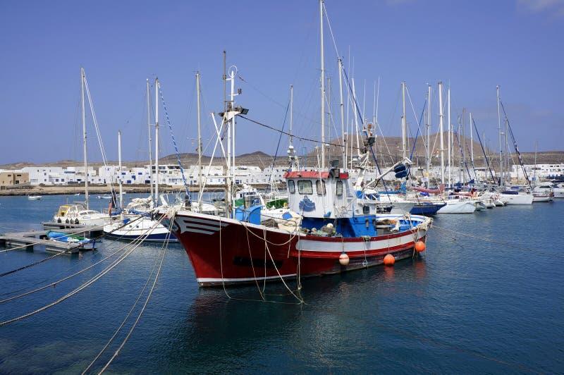 Tugboat in marina. Tugboat in Graciosa marina In Lanzarote Canaries island royalty free stock photography