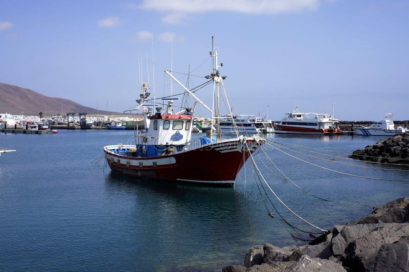 Tugboat in marina. Tugboat in Graciosa marina In Lanzarote Canaries island stock photography