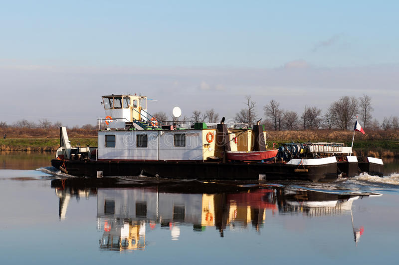 Tugboat on a River. Tugboat on the Labe river in the Czech Republic royalty free stock image