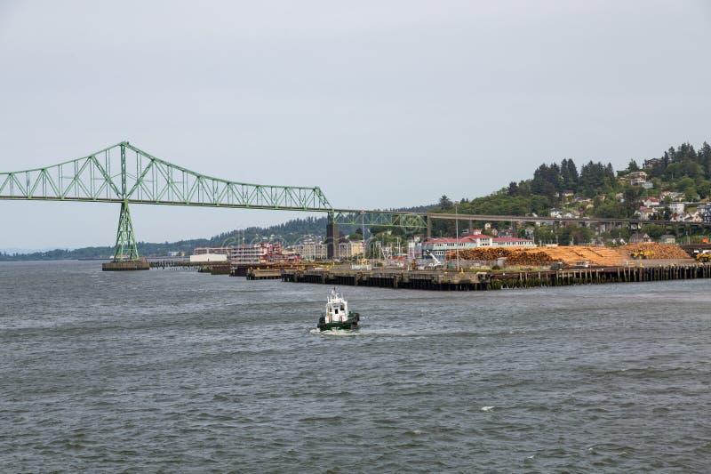 Tugboat Toward Astoria. A Tugboat Toward Astoria Oregon royalty free stock image
