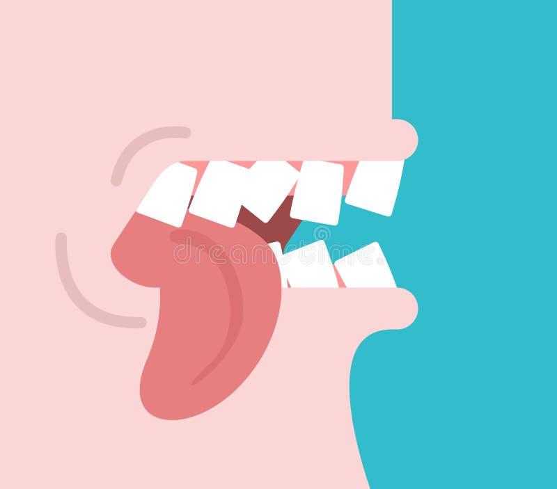 Tuggatunga Gripa hårt om dina tänder var universitetsläraren please högt quiet stängt t-samtal upp också vektor för coreldrawillu vektor illustrationer