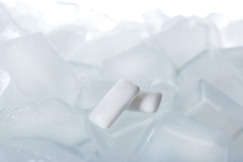 Tuggummin på iskuber mot vit bakgrund arkivfoton