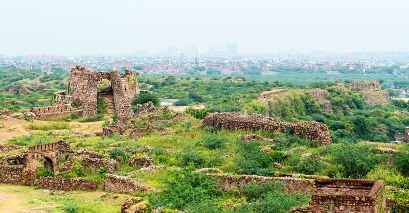 Tughlaqabad堡垒废墟在德里,印度 库存图片