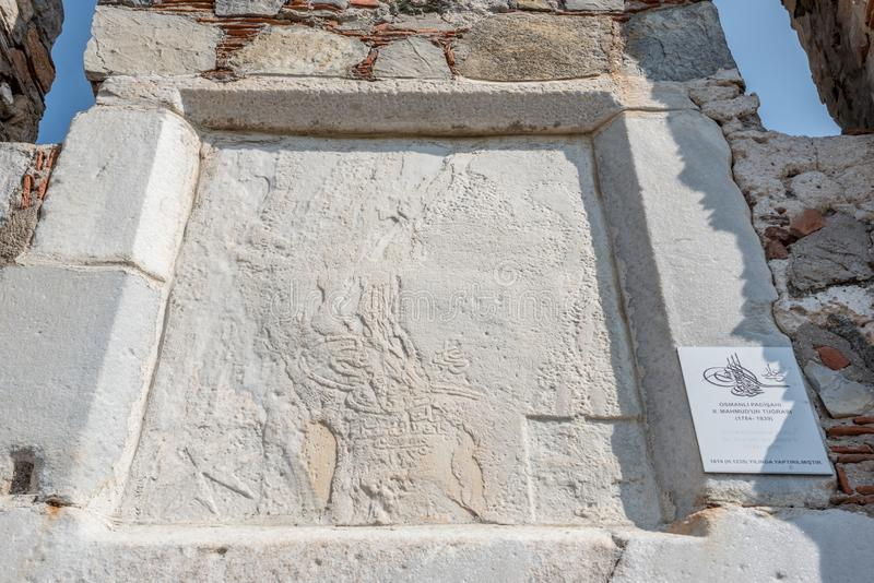 Tughra of Sultan Mahmud ii on wall of Castle of St. Peter or Bodrum Castle. In Bodrum,Turkey stock photos
