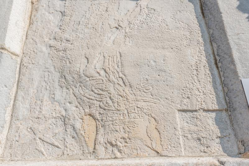 Tughra of Sultan Mahmud ii on wall of Castle of St. Peter or Bodrum Castle. In Bodrum,Turkey stock photo