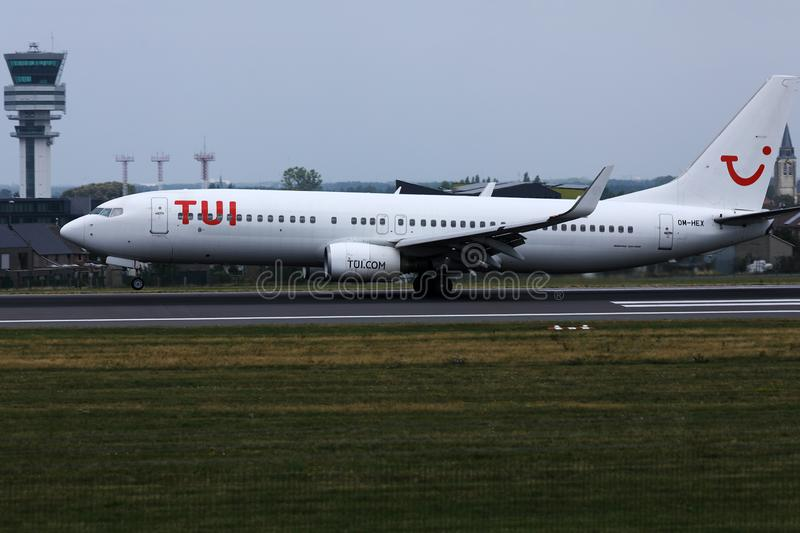 TUI Airways, avion blanc de livrée chez Berlin Tegel Airport, TXL photographie stock