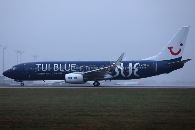 TUI Airways Blue livery in Munich Airport, MUC. TUI Airways Blue livery plane in Munich Airport, MUC stock photos