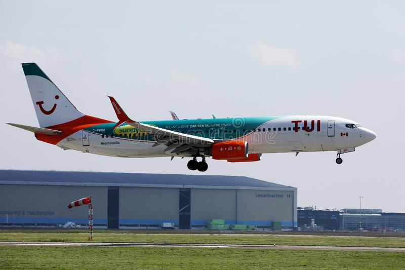 TUI Airways plane, Sunny Cars livery. Airplane stock images