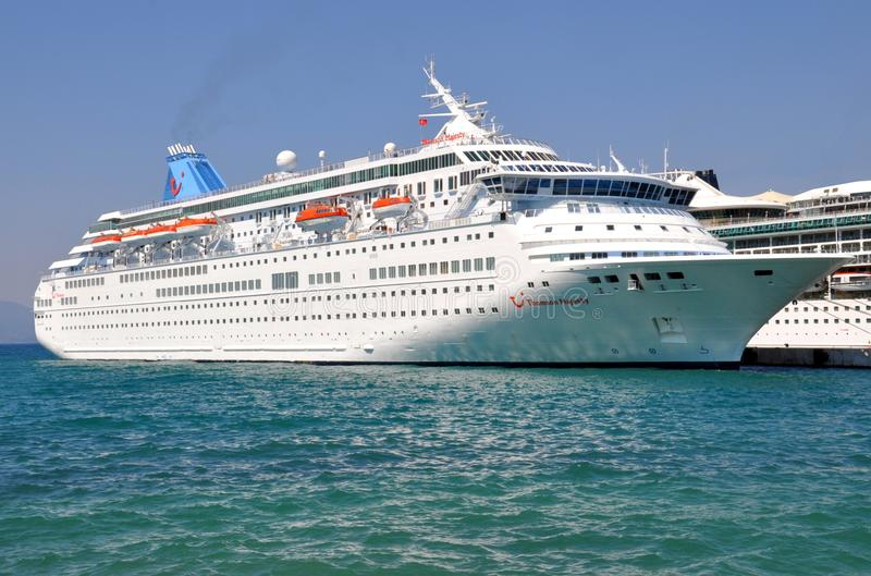 Tui Cruises funnel. Thomson Majesty cruise ship funnel and logo. Tui Cruises royalty free stock image