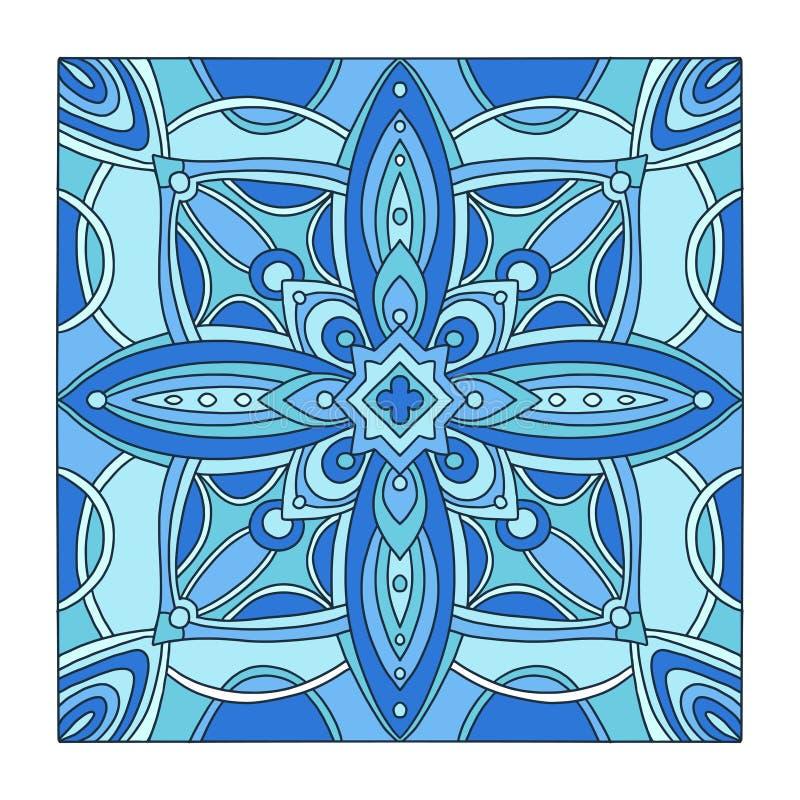 Tuile bleue ornementale Configuration abstraite d'ornement Art en verre en c?ramique ou souill? int?rieur Conception abstraite d' illustration libre de droits