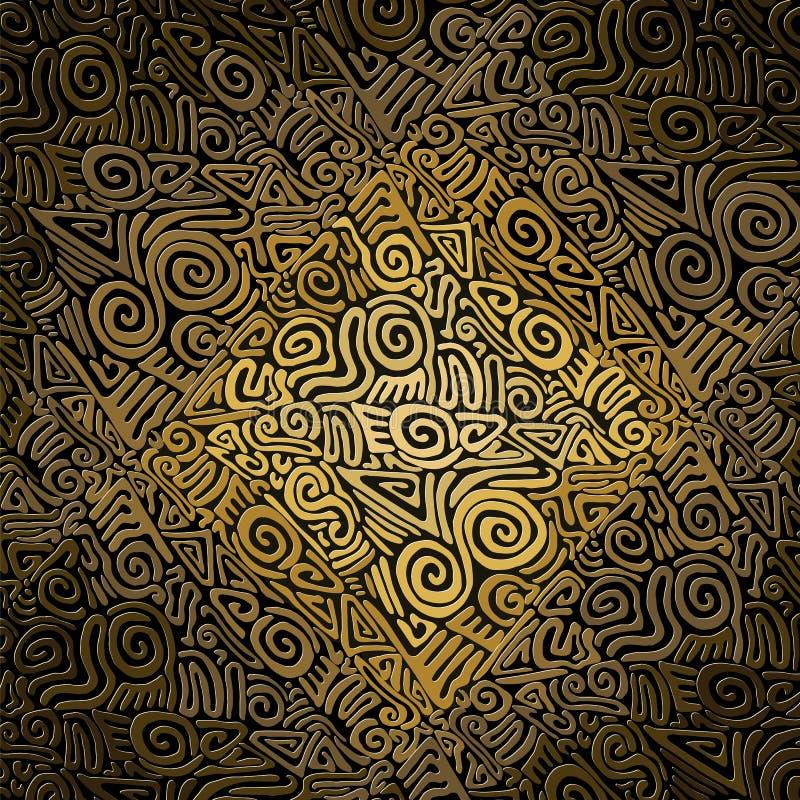 Tuile d'or antique d'ornement illustration de vecteur
