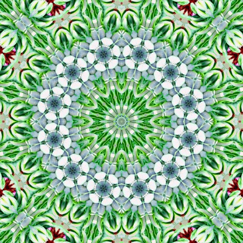 Tuile d'art de mosaïque, modèle irrégulier de kaléidoscope de cercle d'arabesque dans la couleur de menthe de vert illustration libre de droits