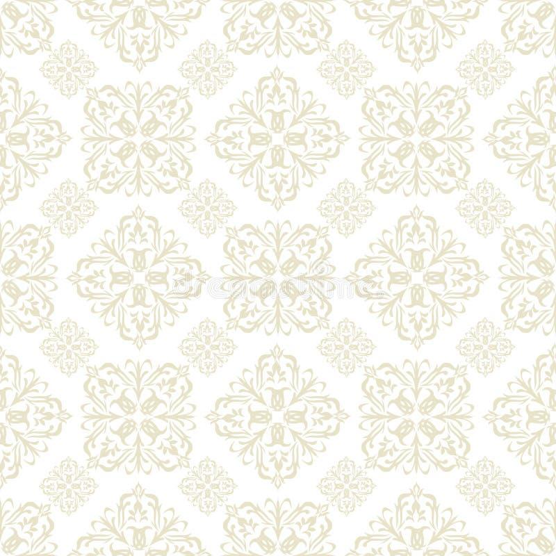 Tuile de beige de papier peint floral illustration de vecteur