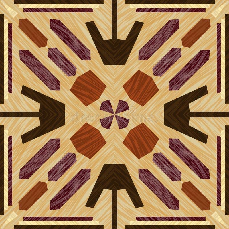 Tuile de marqueterie, modèles texturisés en bois, ornement décoratif symétrique dans les types légers et foncés de bois, objet en illustration de vecteur