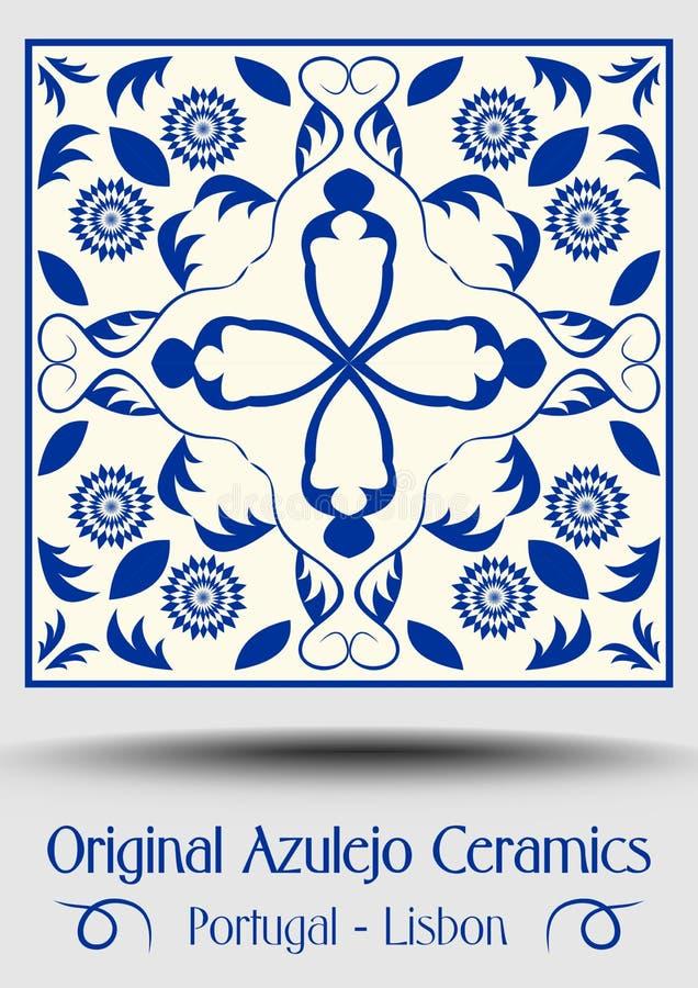 Tuile de poterie de majolique, azulejo bleu et blanc, décor traditionnel original de Portugais et de l'Espagne illustration stock