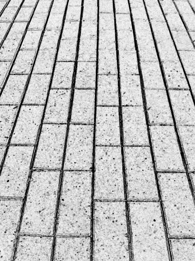 Tuile de trottoir, dessin noir et blanc, traitement de photo photo stock