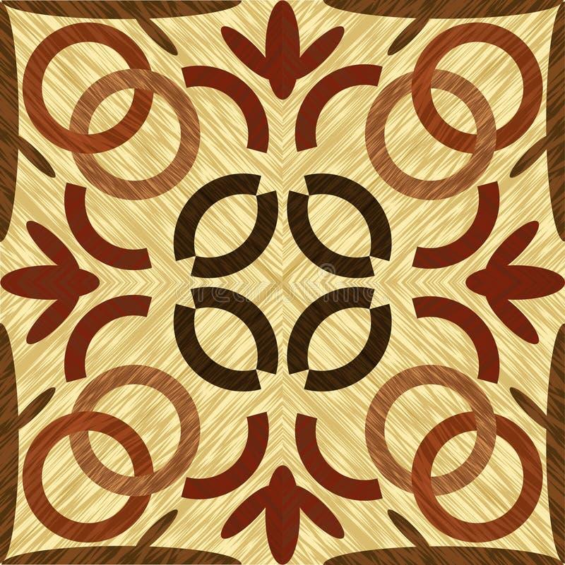 Tuile en bois de marqueterie d'art, ornement géométrique modelé symétrique de bois foncé et léger dans le style de cru illustration stock
