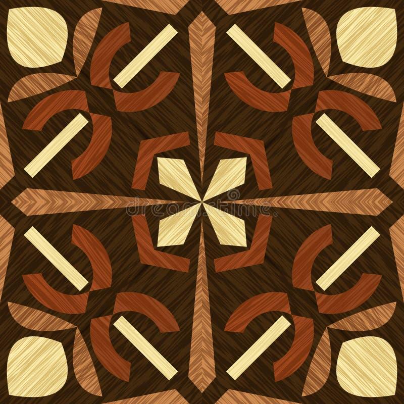 Tuile en bois de marqueterie, mod?les texturis?s en bois, ornement d?coratif g?om?trique dans les types l?gers et fonc?s de bois, illustration de vecteur