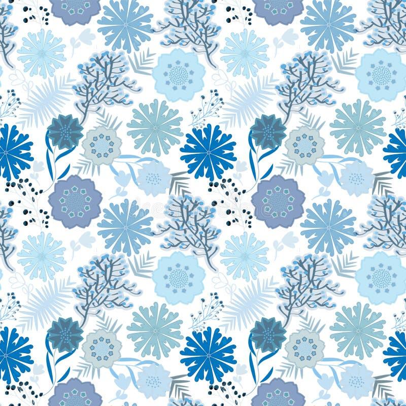 Tuile florale sans couture monochrome bleue de modèle dans la mer et les couleurs d'hiver illustration libre de droits