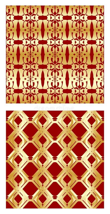 Tuile luxueuse avec les modèles sans couture d'or élégants sur le fond rouge illustration libre de droits