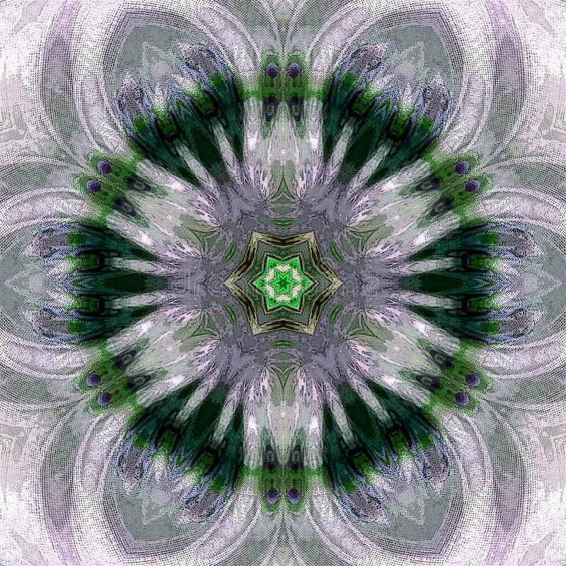 Tuile monochrome de mandala dans des couleurs blanches et vertes transparentes illustration libre de droits