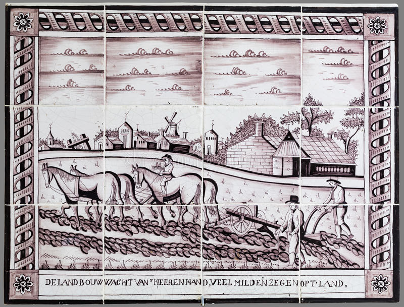 Tuile néerlandaise de la 16ème au XVIIIème siècle photos stock
