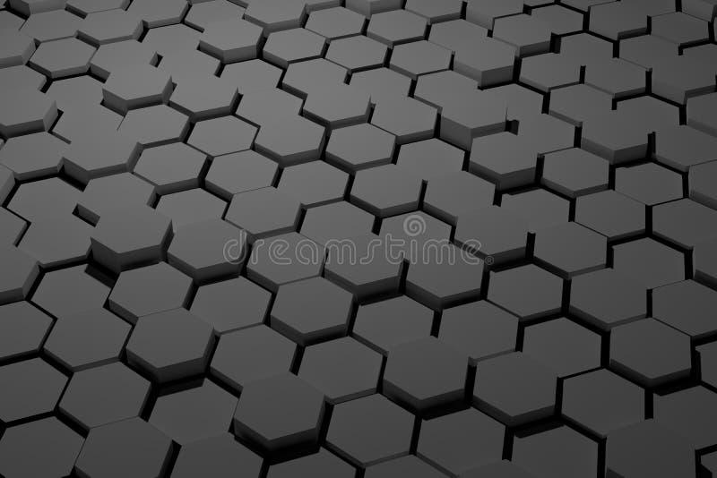 Tuile noire et blanche d'hexagone photographie stock libre de droits