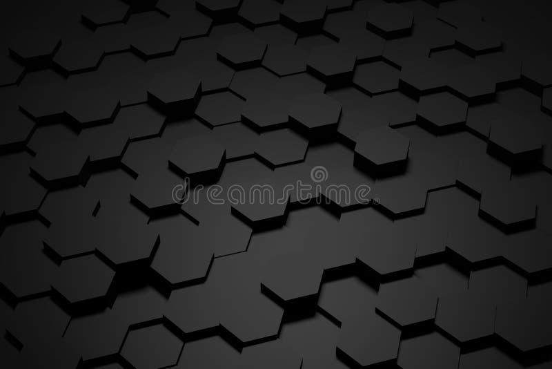 Tuile noire et blanche d'hexagone photo stock