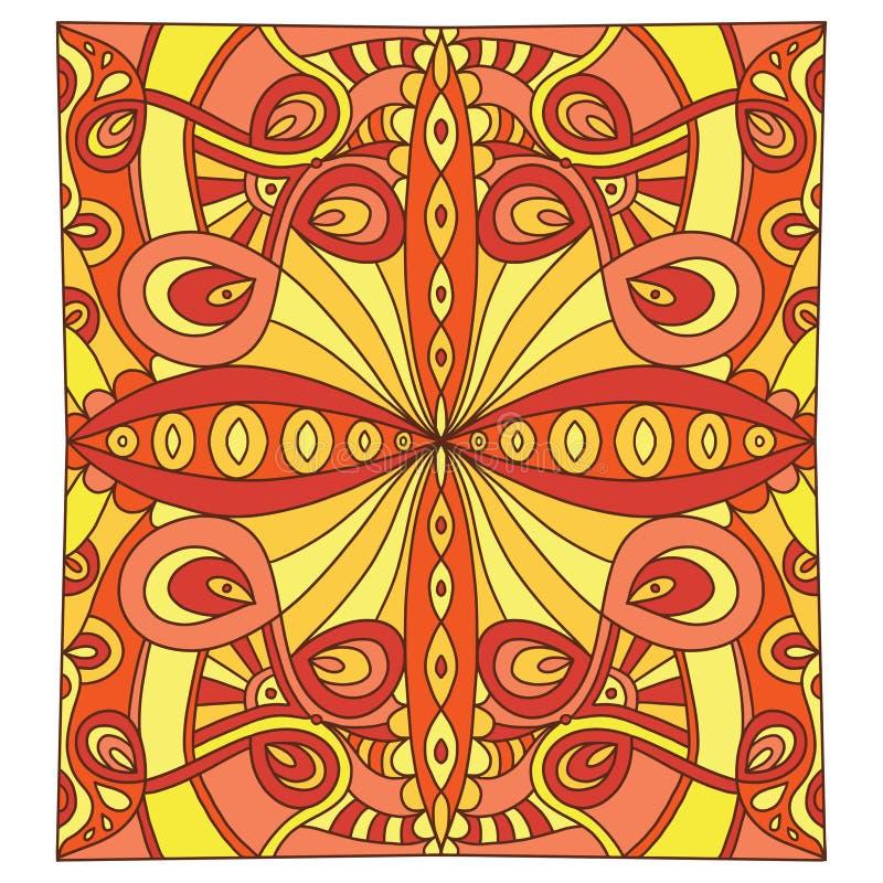 Tuile ornementale dans des couleurs oranges et jaunes Configuration abstraite d'ornement Art en verre en c?ramique ou souill? int illustration de vecteur