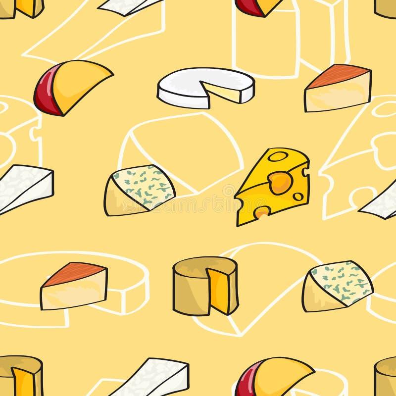 Fond sans couture de fromage de bande dessinée illustration libre de droits