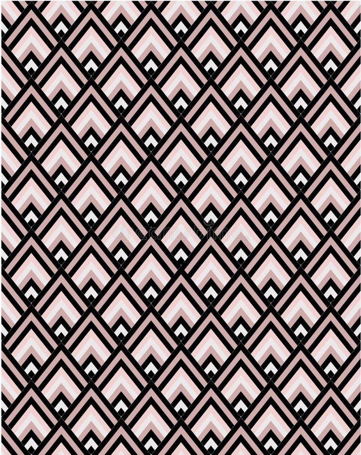 Tuile sans couture de modèle de vecteur de rose géométrique et de chevron noir illustration de vecteur