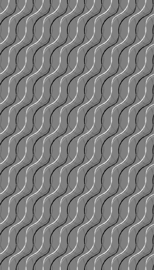 Tuile sans couture onduleuse organique de modèle dans le gris argenté illustration libre de droits