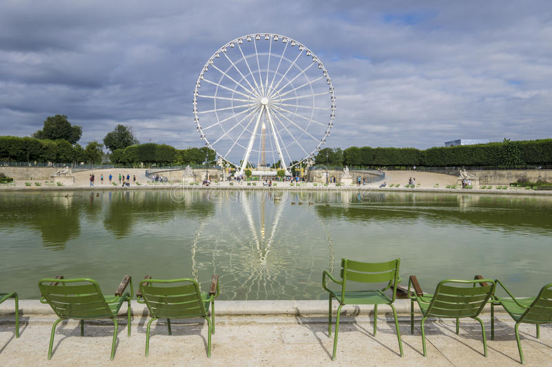 Tuileries Garden and Ferris wheel stock images