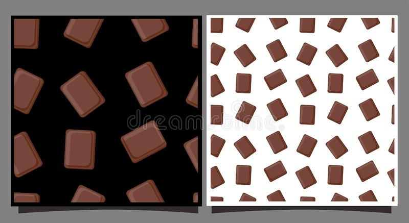 Tuiles avec des morceaux de chocolat Configuration sans joint avec des bonbons Cartes avec le fond blanc et noir Pour imprimer su illustration libre de droits