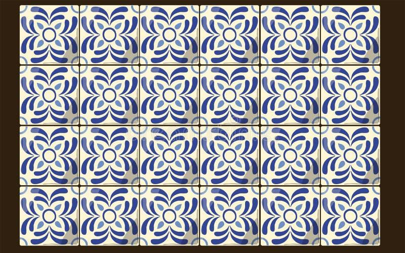 Tuiles bleues mexicaines illustration de vecteur