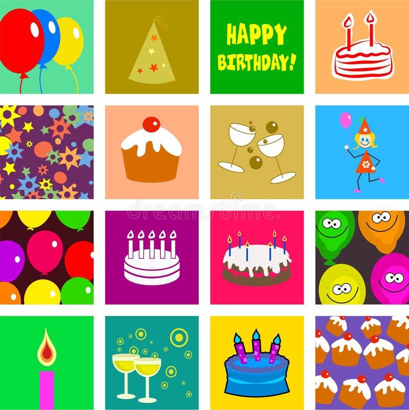 Tuiles d'anniversaire illustration de vecteur