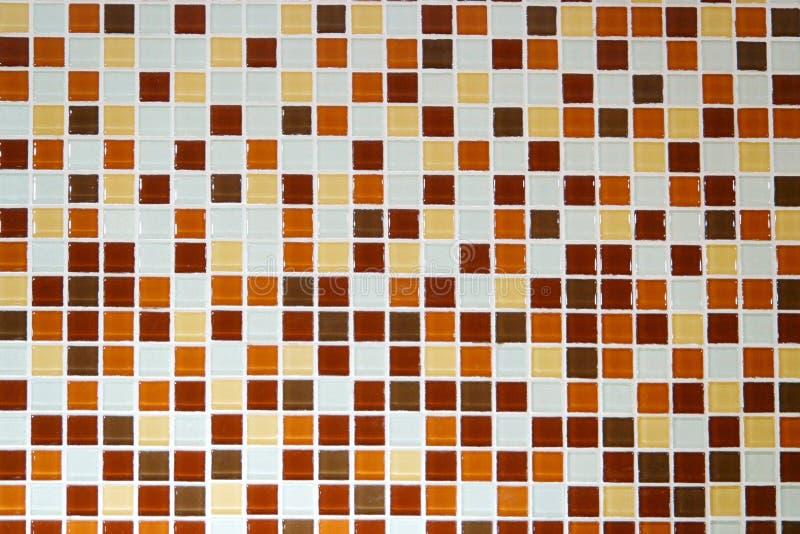 Tuiles de mosaïque brunes blanches oranges, modèle sans couture pour la décoration photos stock
