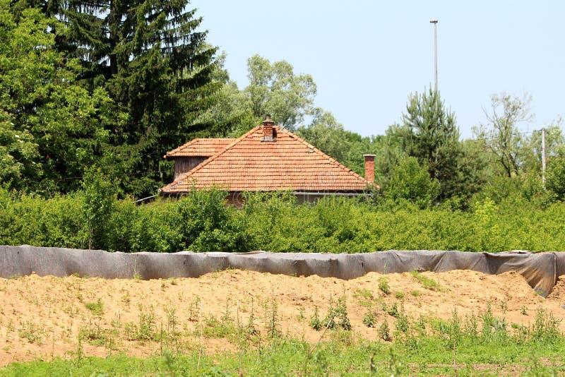 Tuiles de toit rouges de maison à peine évidente de famille derrière la protection d'inondation provisoire de barrières de boîte  photo libre de droits