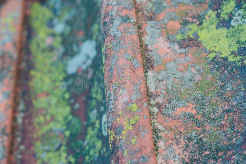 Tuiles de toit sur de vieux plans rapprochés de maison images stock