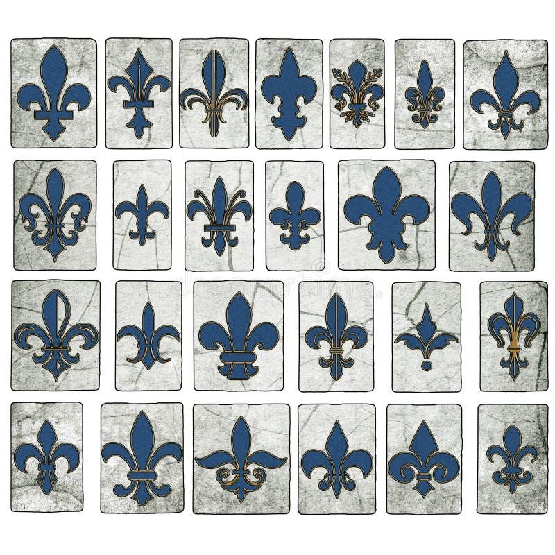 Tuiles en bois de rue de Fleur De Lis Collection New Orleans de vintage photographie stock libre de droits