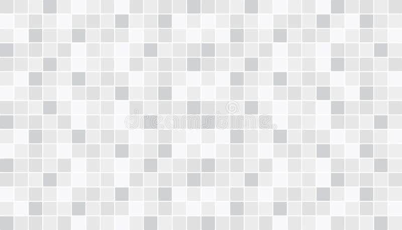 Tuiles en céramique blanches et grises de plancher et de mur Fond abstrait de vecteur Texture de mosaïque géométrique Modèle sans illustration de vecteur