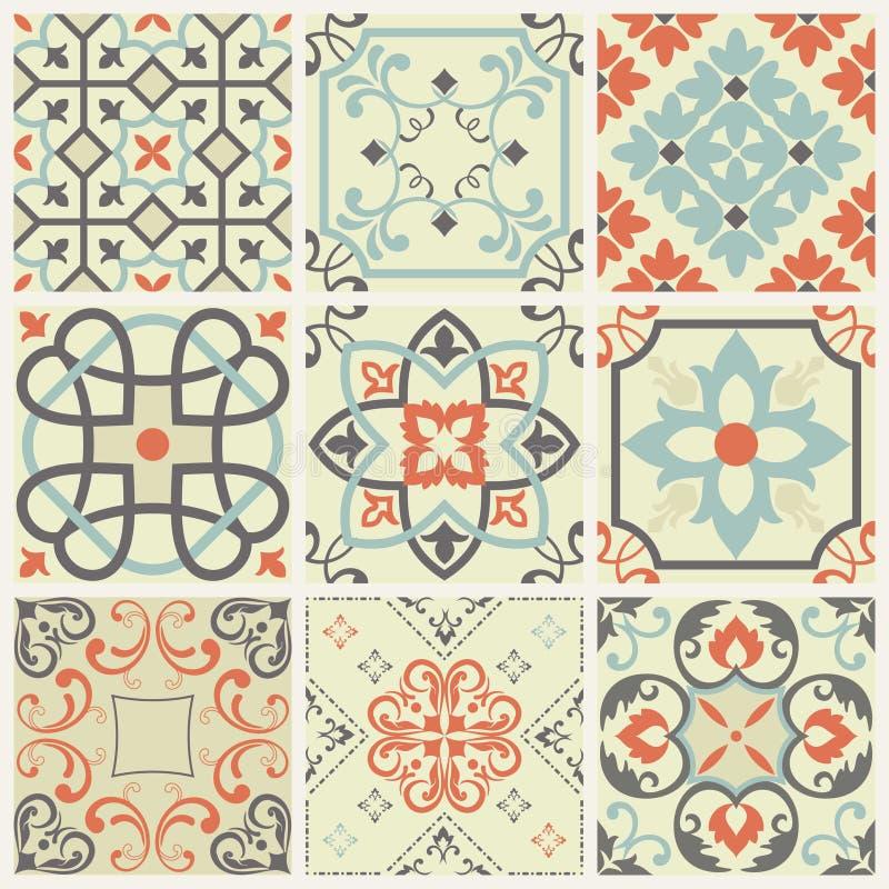 Tuiles marocaines de modèle sans couture magnifique et portugaises colorées blanches, Azulejo, ornements illustration stock