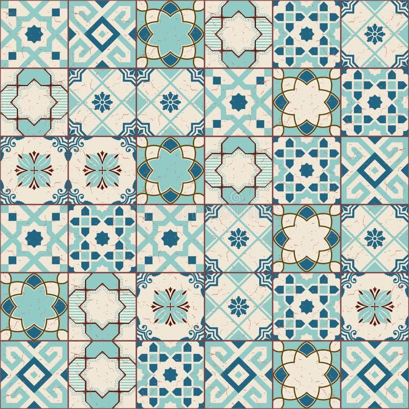 Tuiles marocaines de modèle sans couture magnifique vieilles et portugaises vertes blanches, Azulejo, ornements Peut être employé illustration libre de droits