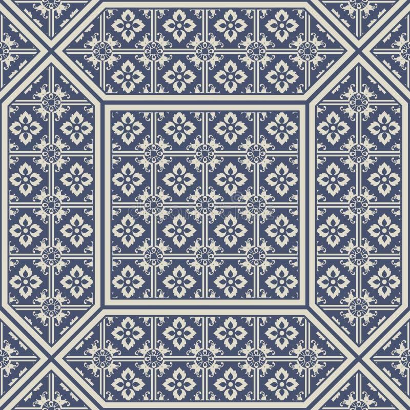 Tuiles modelées de plancher et de mur Tuiles décoratives en céramique Texture de fleur de vintage illustration libre de droits