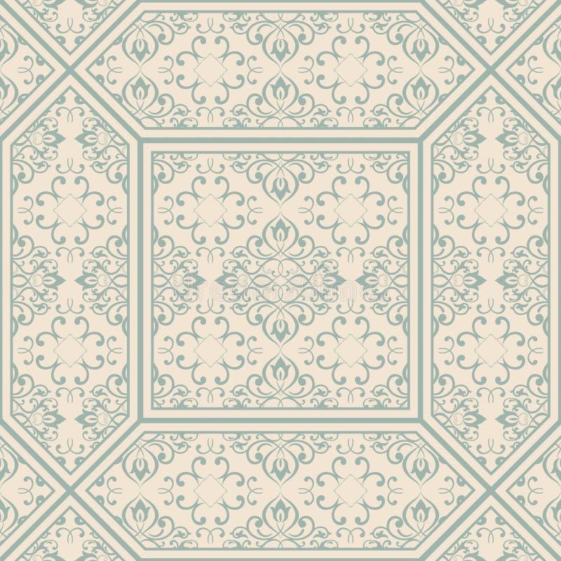 Tuiles modelées de plancher et de mur Tuiles décoratives en céramique Texture de fleur de vintage illustration stock