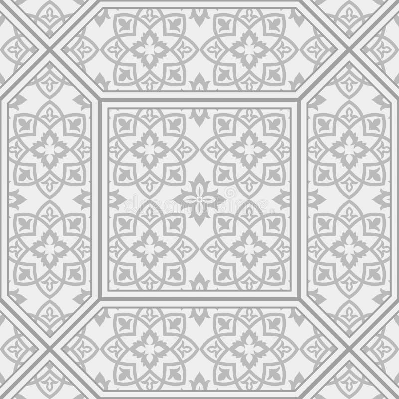 Tuiles modelées par vintage Tuiles modelées de plancher et de mur Tuiles décoratives en céramique Texture de fleur de vintage illustration de vecteur