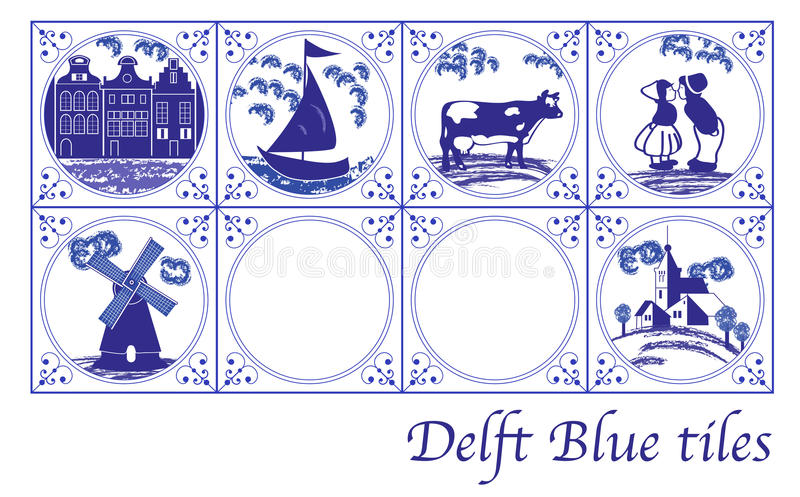 Tuiles néerlandaises bleues de Delft avec les photos folkloriques photo stock