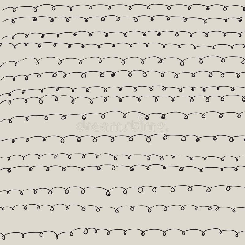 Tuiles ou tissu crèmes de fond de vecteur de modèle avec les lignes déformées illustration stock