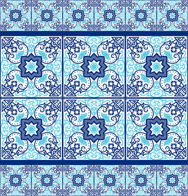 Tuiles portugaises d'azulejo Configurations sans joint illustration stock